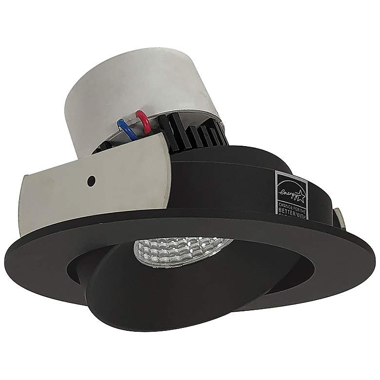 "Pearl 4"" Black 3000K LED Round Cone Regress Retrofit Trim"