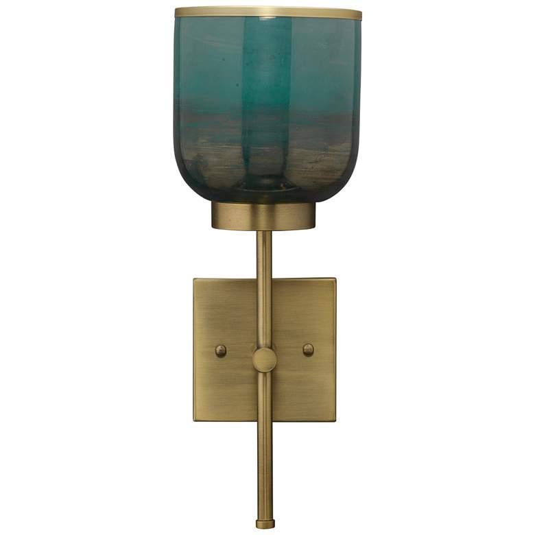 "Vapor 15 3/4"" High Aqua Glass and Brass Metal Wall Sconce"