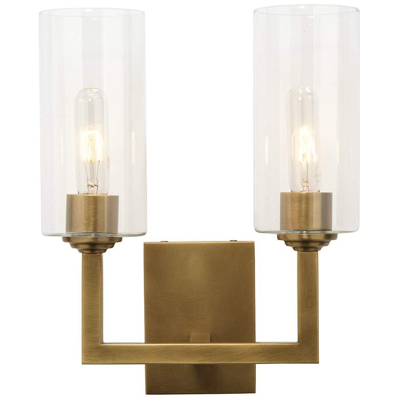 """Linear Double 14 1/2"""" High Antique Brass 2-Light Wall Sconce"""