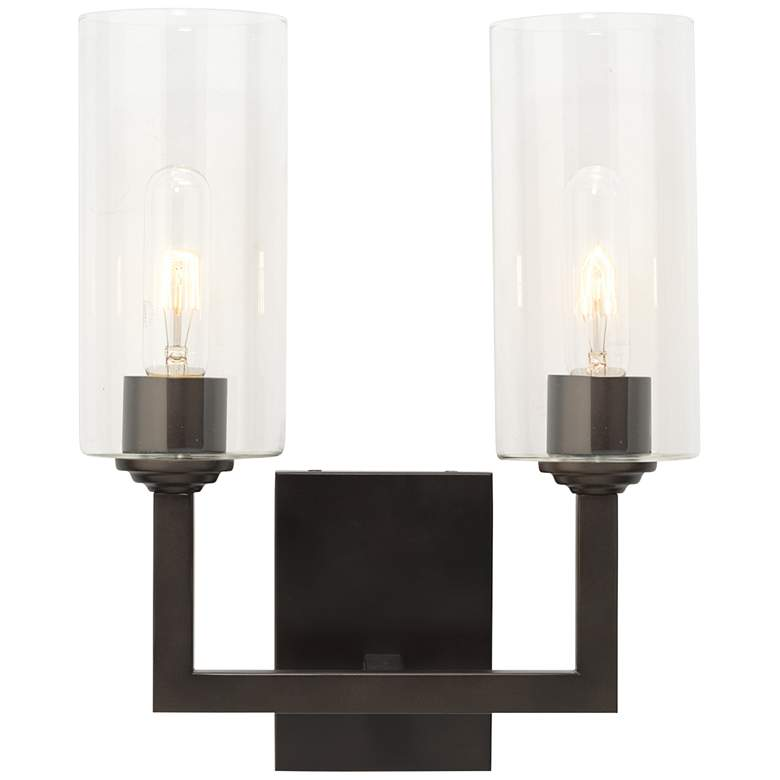 """Linear Double 14 1/2""""H Oil-Rubbed Bronze 2-Light Wall Sconce"""