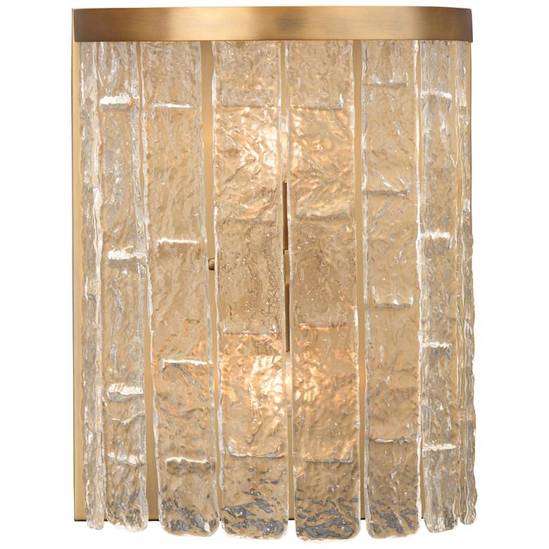 """Waterfall Demi-Lune 15""""H Brass and Glass 2-Light Wall Sconce"""