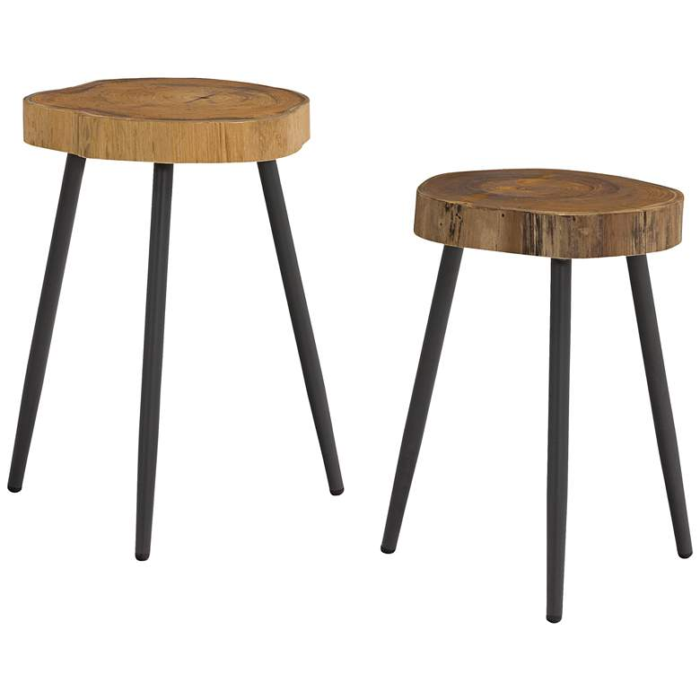 Penelope Wood and Steel Indoor/Outdoor Side Tables Set of 2