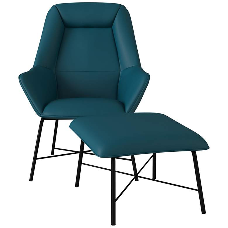 Brooke Caribbean Blue Fabric Lounge Chair and Ottoman Set