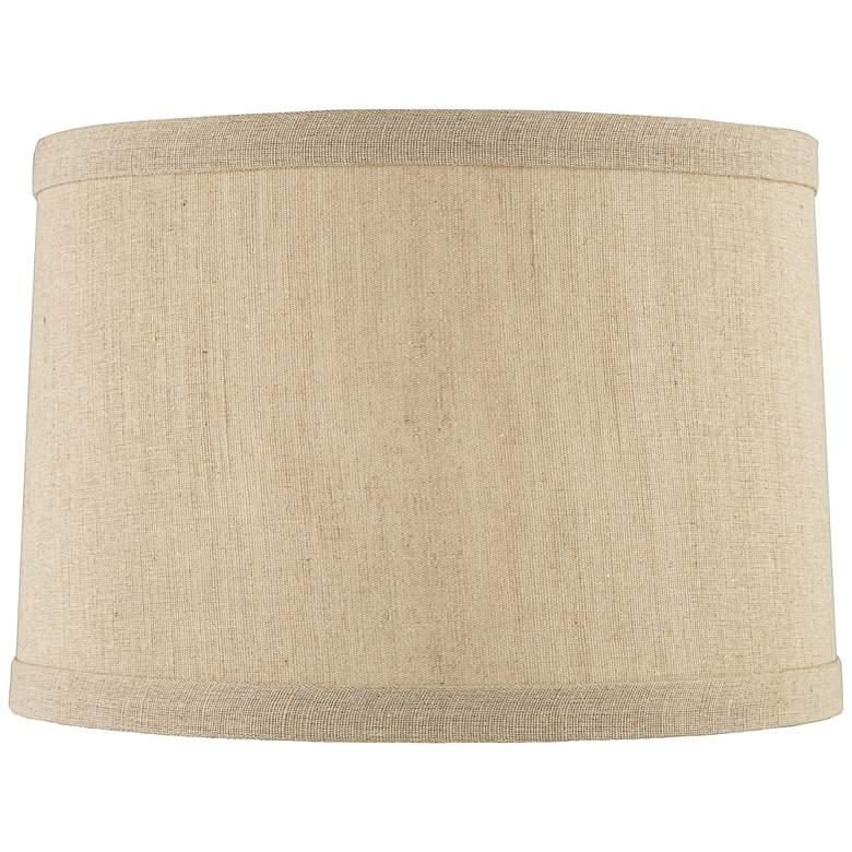 Taupe Linen Hardback Drum Lamp Shade 15x16x11 (Spider)