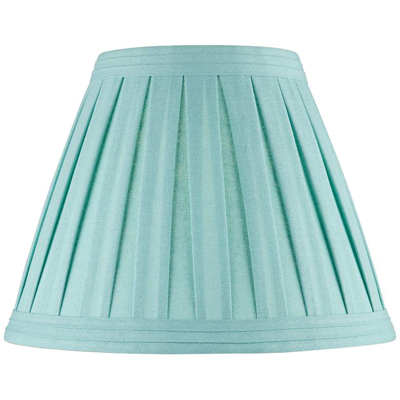 Turquoise Linen Box Pleat Empire Lamp Shade 7x14x11 (Spider)