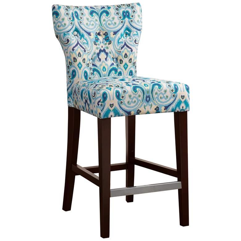 "Avila 25"" Blue Fabric and Espresso Wood Counter Stool"