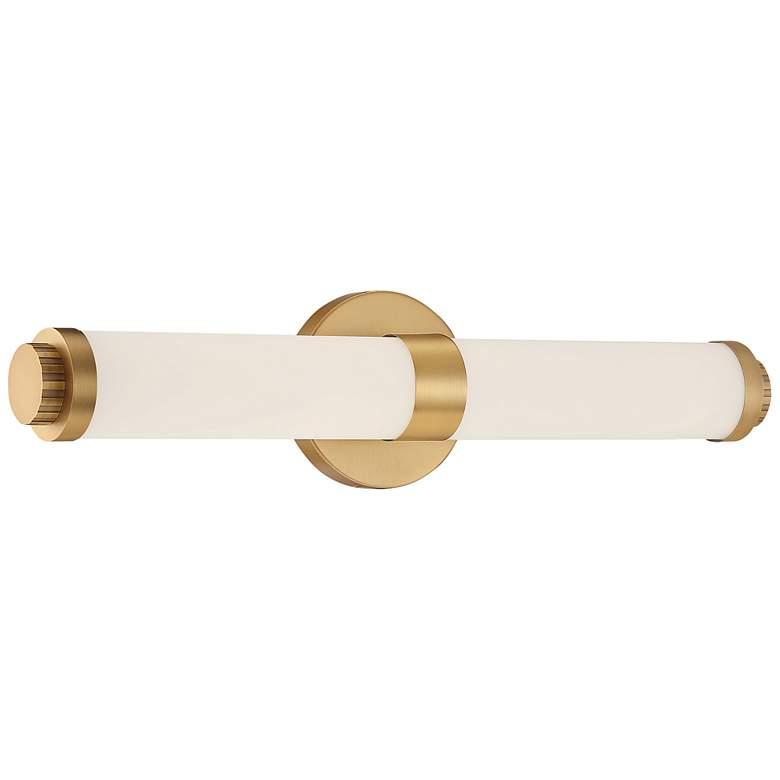 """Aqua 19 1/4"""" Wide Brushed Gold Metal Bar LED Bath Light"""