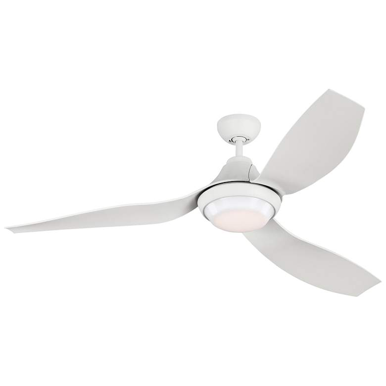 "56"" Monte Carlo Avvo Matte White Damp Rated LED Ceiling Fan"