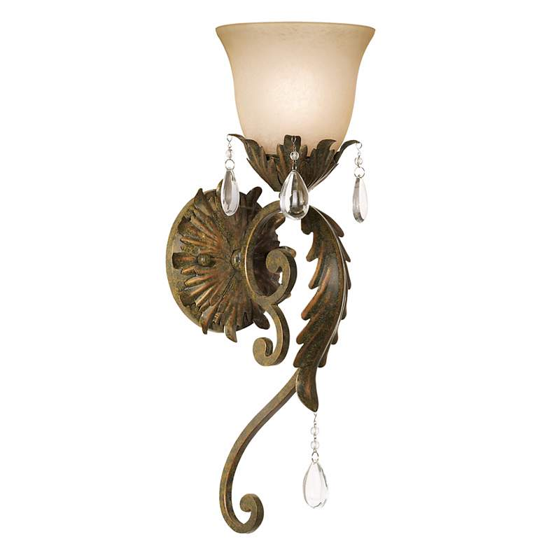 """Valentina Collection 19 1/2"""" High Iron Leaf Wall Sconce"""