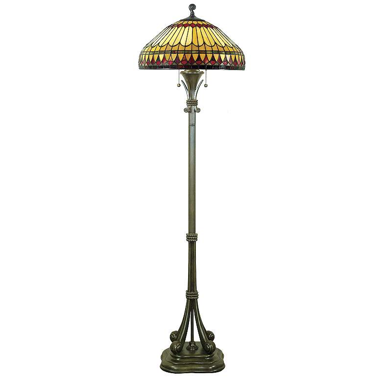Quoizel Tiffany-Style Floor Lamp with Feather Glass Shade