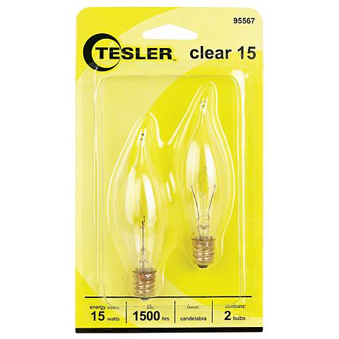Tesler 15 Watt 2-Pack Bent Tip Candelabra Light Bulbs