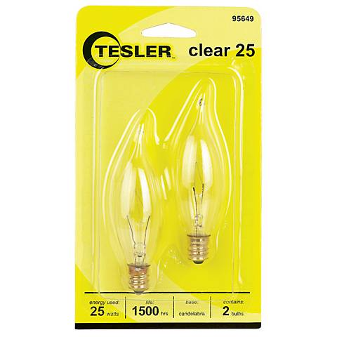 Tesler 25 Watt 2-Pack Bent Tip Candelabra Light Bulbs