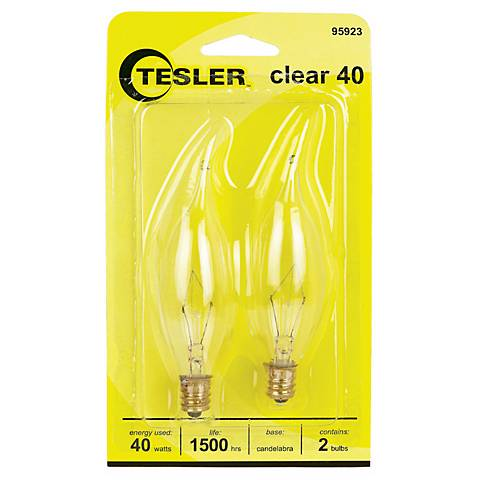 Tesler 40 Watt 2-Pack Bent Tip Candelabra Light Bulbs