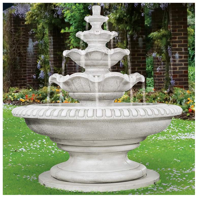"Palazzo Quattro 81""H Pompeii Ash 5-Tiered Outdoor Fountain"