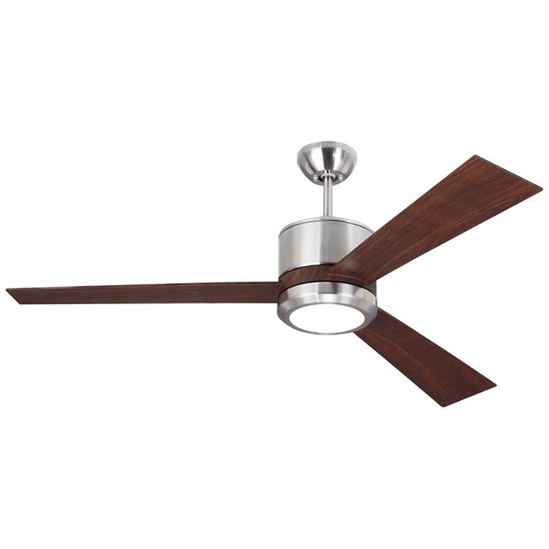 "52"" Monte Carlo Vision Max Brushed Steel and Teak LED Ceiling Fan"