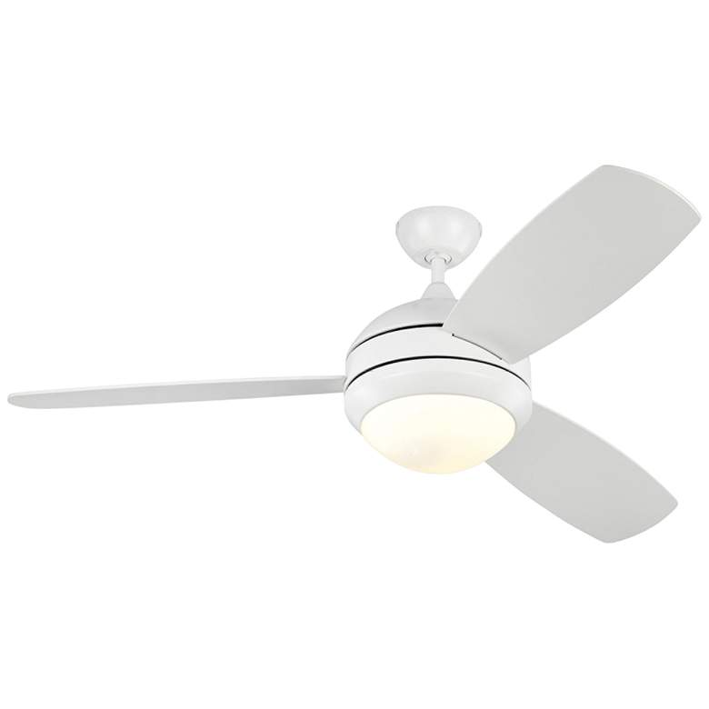 """52"""" Monte Carlo Discus Trio Matte White Damp Rated LED Ceiling Fan"""