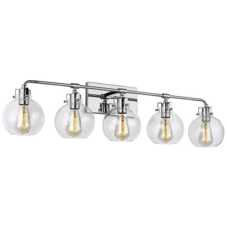 """Feiss Clara 40"""" Wide Chrome 5-Light Bath Light"""