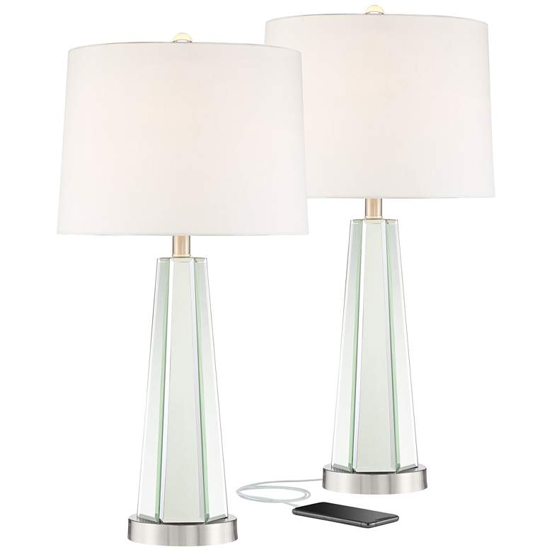 Braydon Mirrored Column USB Table Lamps - Set of 2