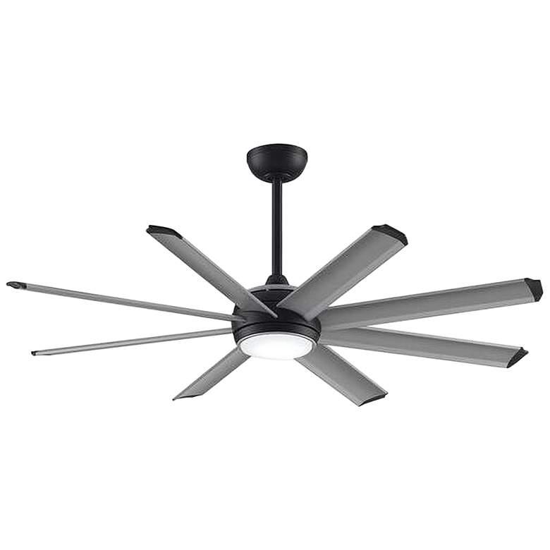 "56"" Stellar Custom Silver Blade Black Motor LED Ceiling Fan"