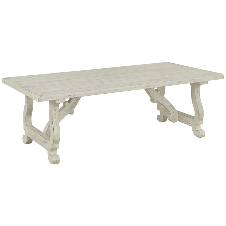 """Orchard Park 54"""" Wide White Rub Wood Cocktail Table"""