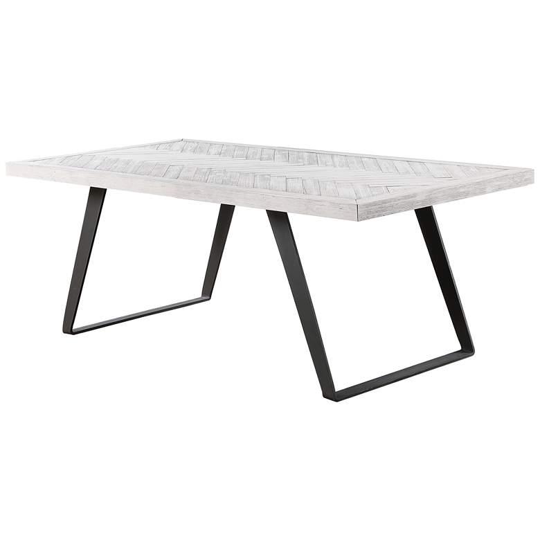 """Aspen Court II 80"""" Wide Herringbone White Rub Dining Table"""