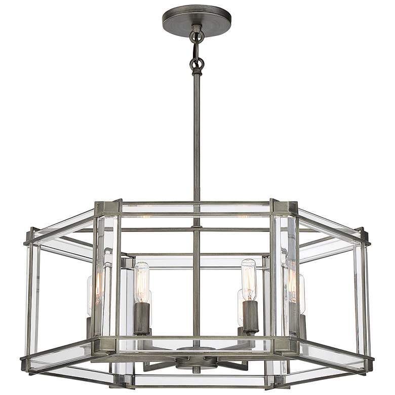 "Langen Square 24"" Wide Antique Nickel Geometric 6-Light Pendant Light"