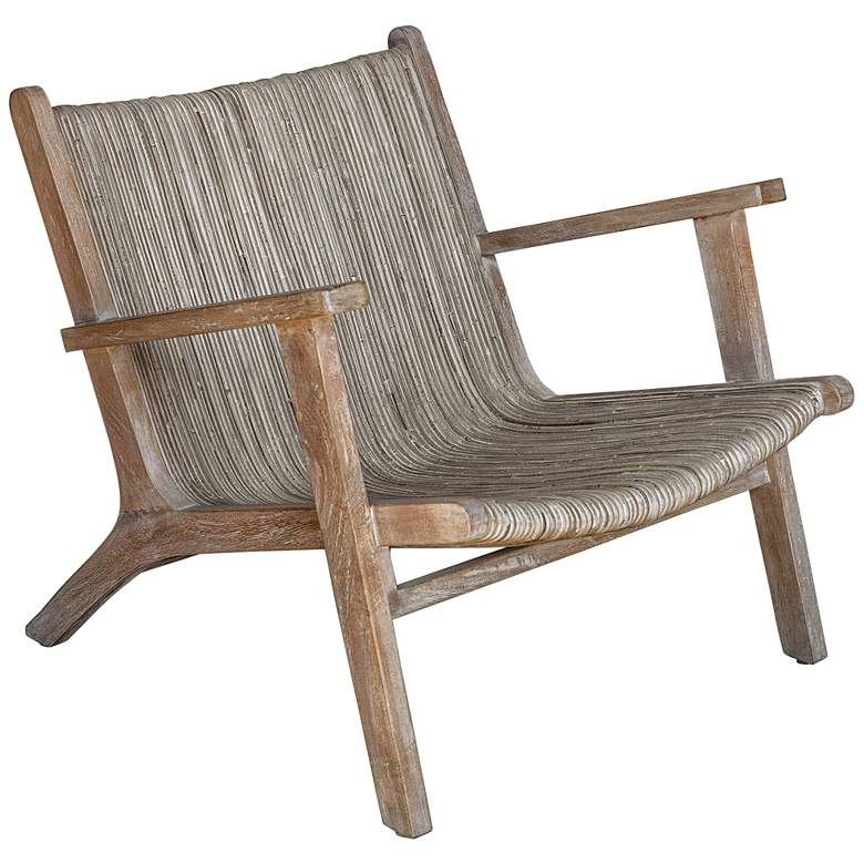 Uttermost Aegea Beige and Gray Woven Rattan Accent Chair