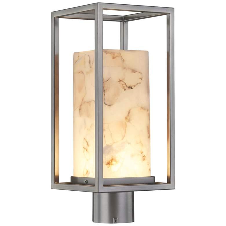 """Alabaster Rocks Laguna 7"""" Wide Brushed Nickel LED Outdoor Post Light"""