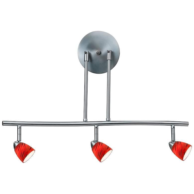 Serpentine 3-Light Steel and Red Adjustable Track Fixture