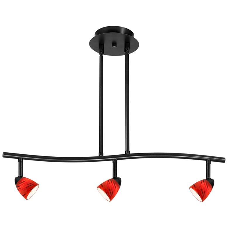 Serpentine 3-Light Black and Red Adjustable Track Fixture