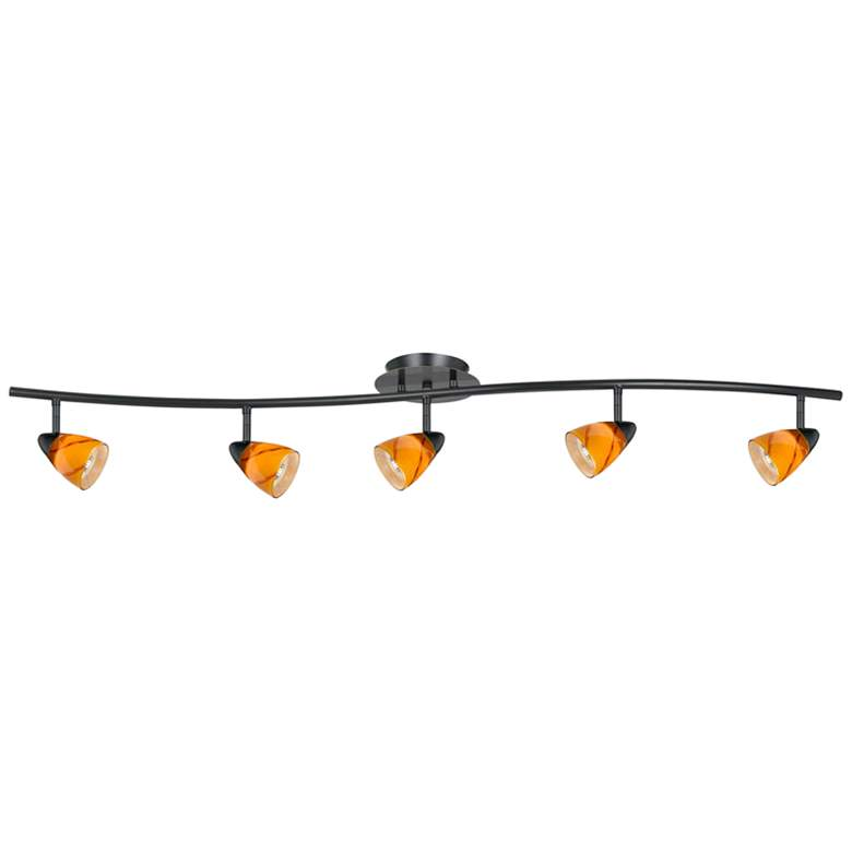 Serpentine 5-Light Dark Bronze and Yellow Track Fixture