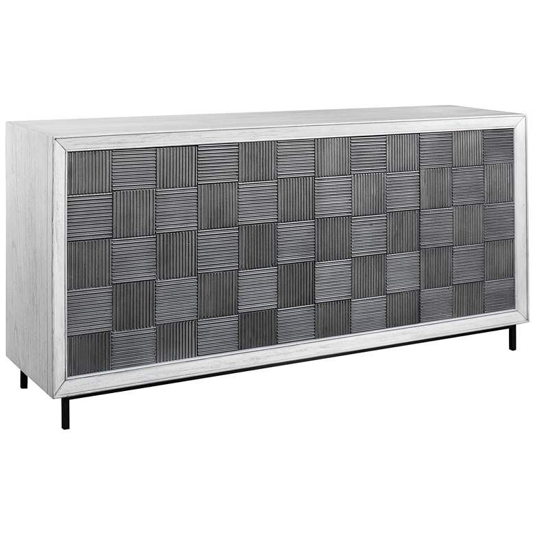 """Checkerboard 67"""" Wide White and Gray 4-Door Storage Cabinet"""