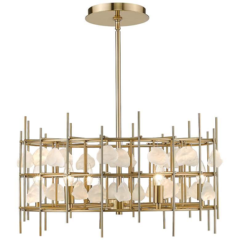 "Garroway 24"" Wide Aged Brass 6-Light Chandelier"