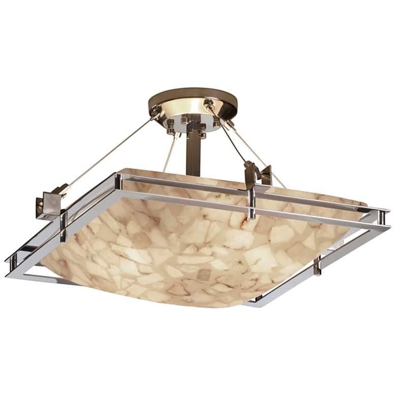 """Alabaster Rocks Metropolis 22"""" Wide Brushed Nickel LED Ceiling Light"""