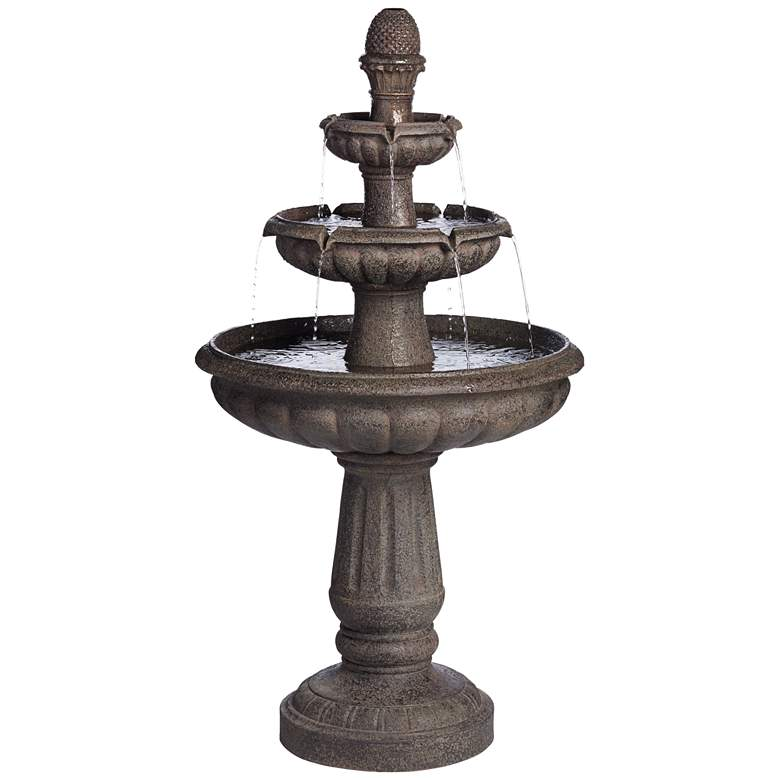 """Rendaux 43"""" High Gray 3-Tier LED Outdoor Fountain"""