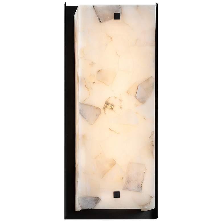 """Alabaster Rocks Carmel 6 1/2"""" Wide Matte Black LED Outdoor Wall Light"""
