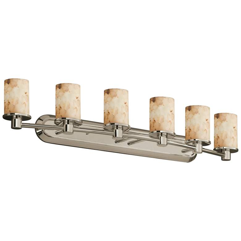 "Alabaster Rocks Rondo 43 3/4""W Brushed Nickel LED 6-Light Bath Light"