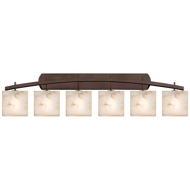 "Alabaster Rocks Archway 56"" Wide Dark Bronze LED 6-Light Bath Light"