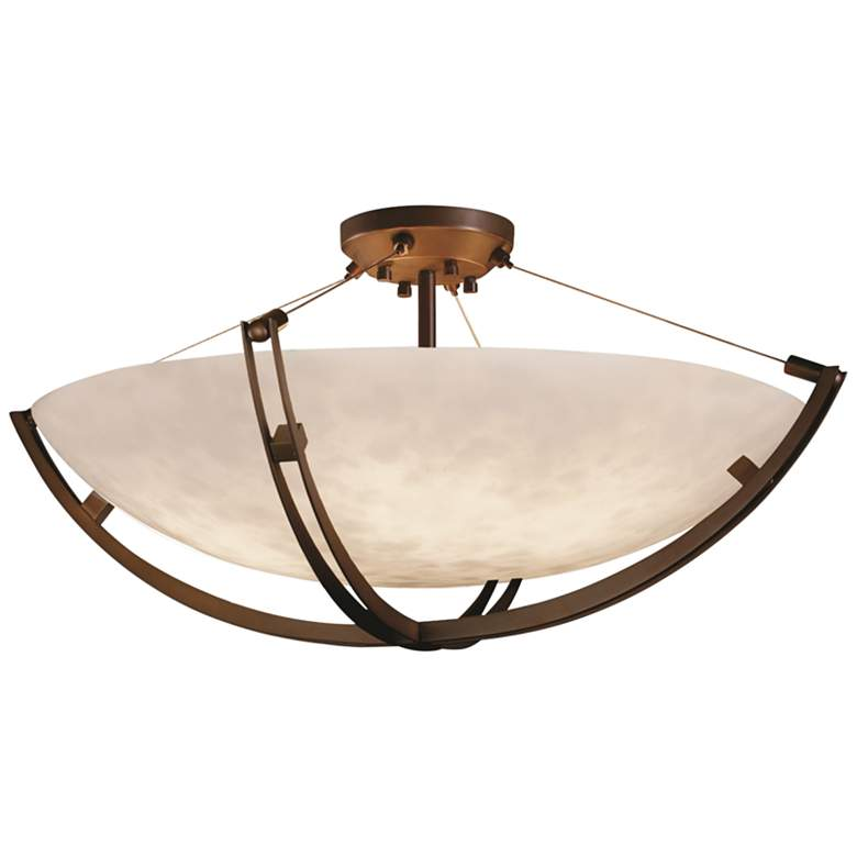 """Clouds Collection Crossbar 42"""" Wide Dark Bronze LED Ceiling Light"""