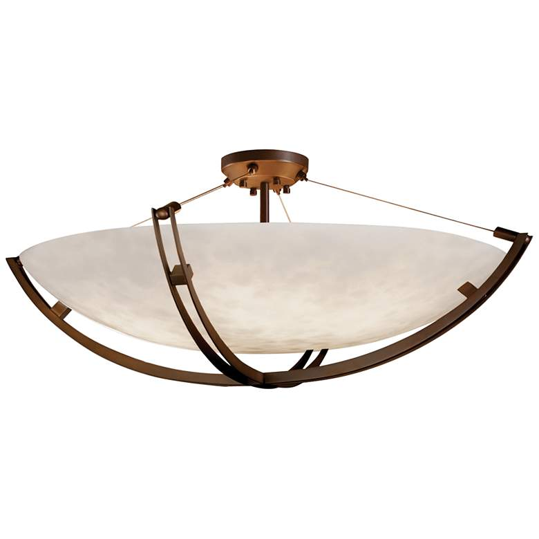 """Clouds Collection Crossbar 55"""" Wide Dark Bronze LED Ceiling Light"""