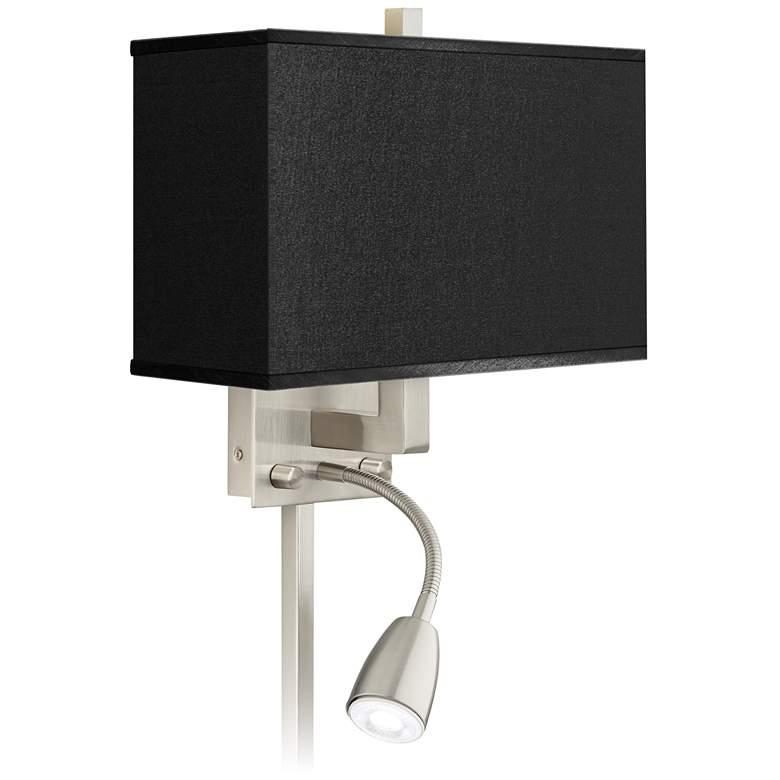 Black Faux Silk LED Reading Light Plug-In Sconce