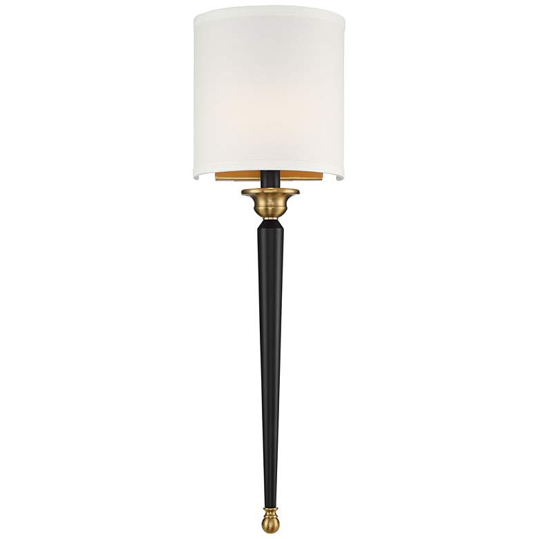 "Possini Euro Arletta 26"" High Black and Brass Wall Sconce"
