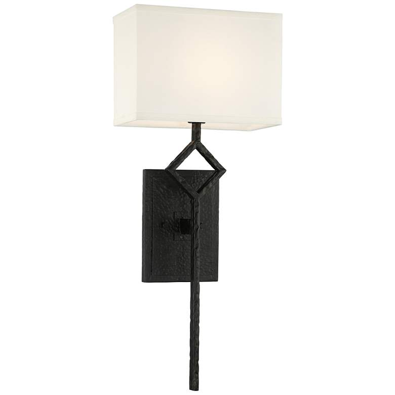 """Mission 25 1/2"""" High Matte Black Wall Sconce"""