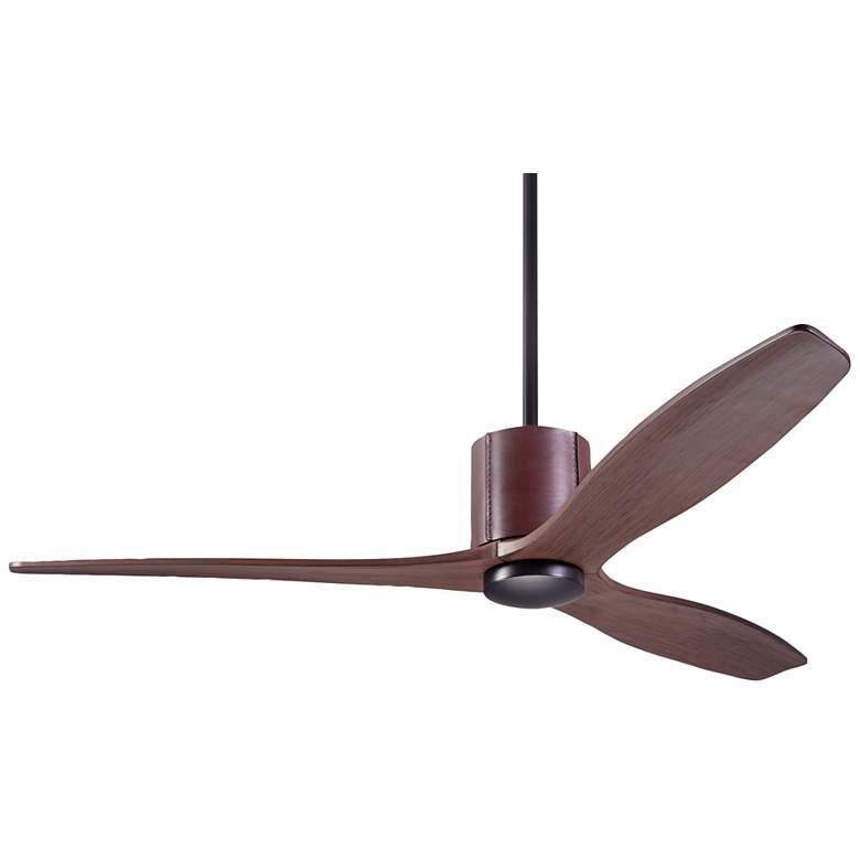 """54"""" Modern Fan LeatherLuxe Dark Bronze and Mahogany Ceiling Fan"""
