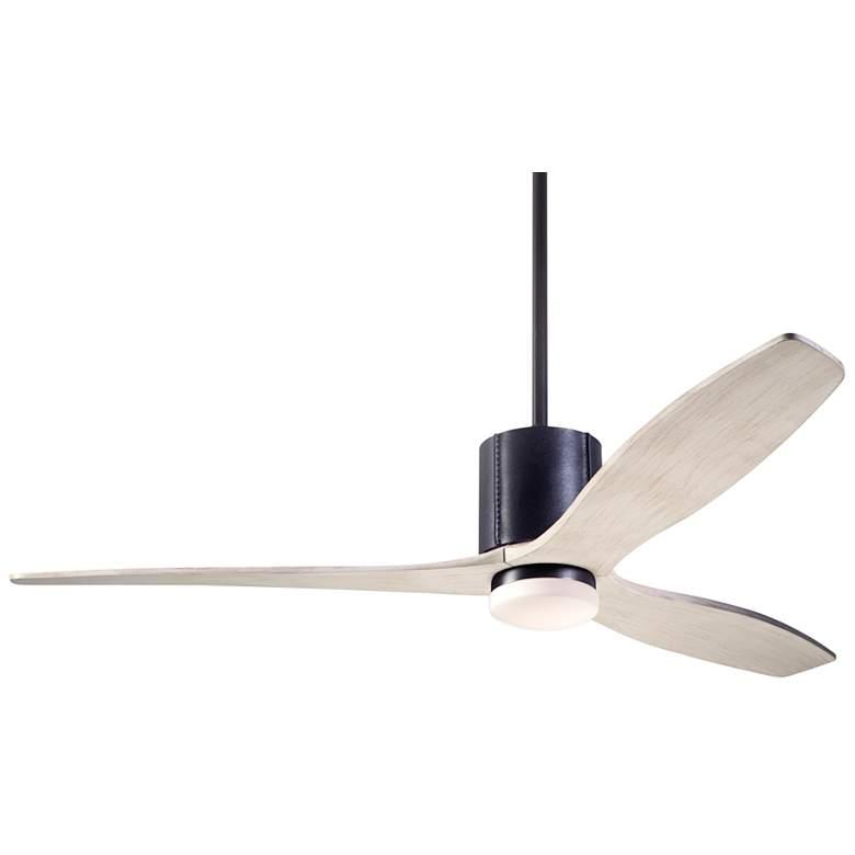 """54"""" Modern Fan LeatherLuxe Dark Bronze and Whitewash LED Ceiling Fan"""