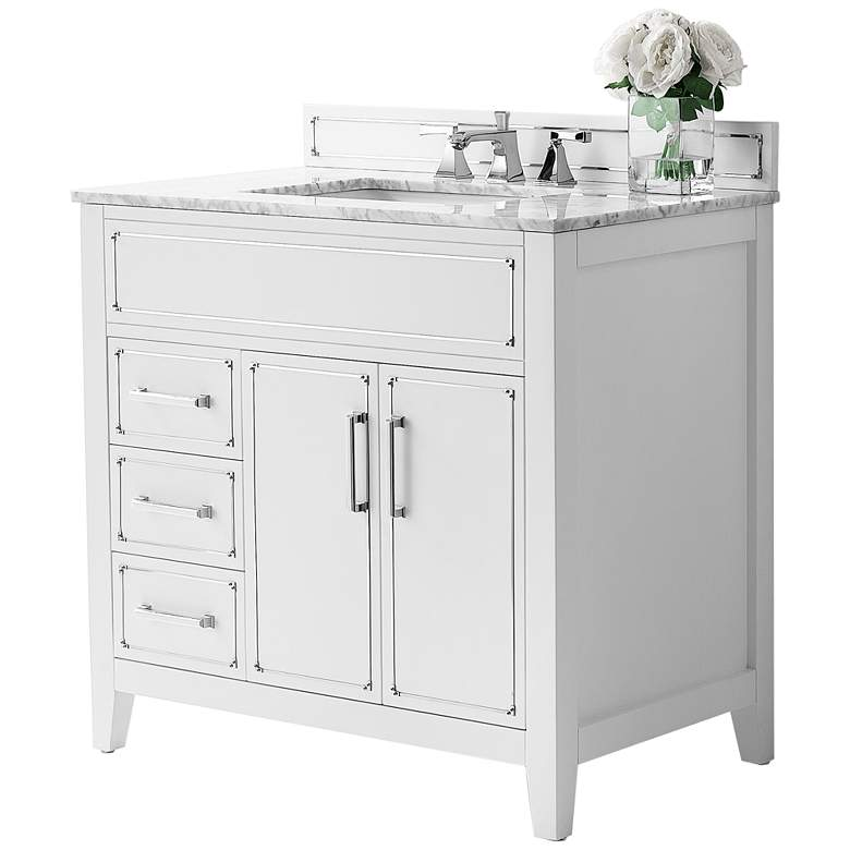 """Aspen 36"""" Wide White 2-Door Single Sink Vanity"""