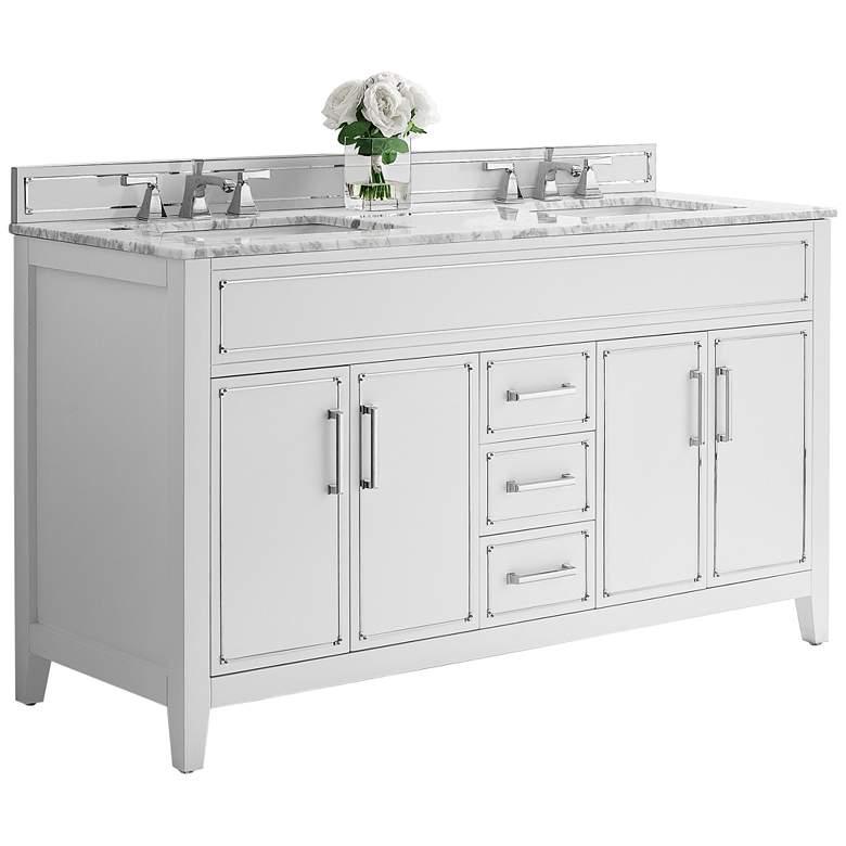 """Aspen 60"""" Wide White 4-Door Double Sink Vanity"""