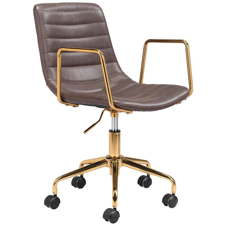 Zuo Eric Brown Faux Leather Adjustable Swivel Office Chair