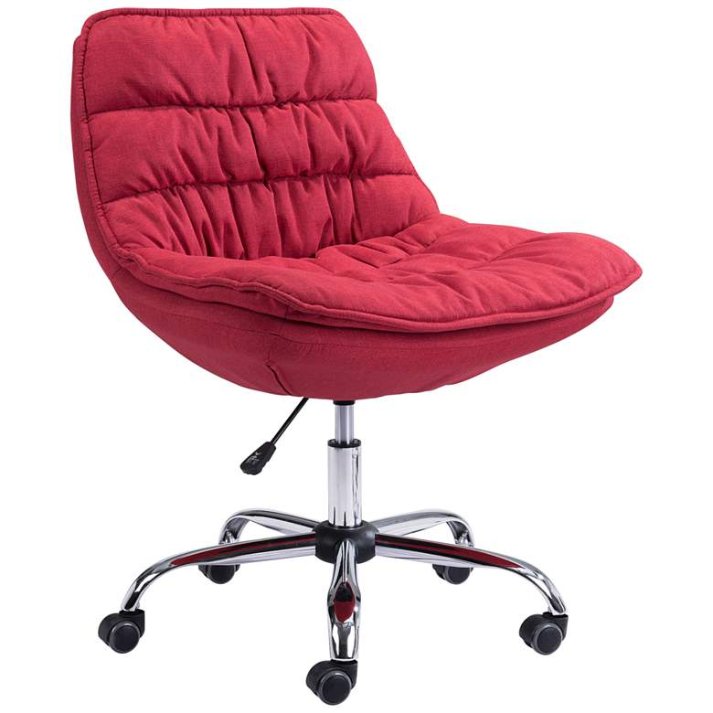 Zuo Down Low Red Fabric Adjustable Swivel Office Chair