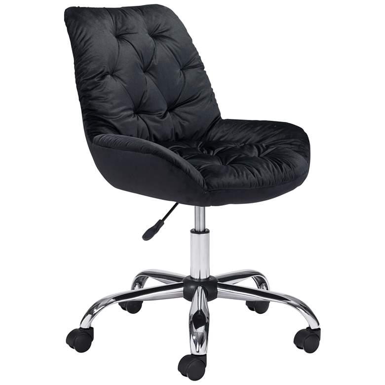 Zuo Loft Black Tufted Adjustable Swivel Office Chair
